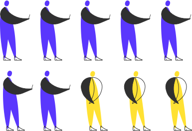 10 humans standing as an illustration. Seven are blue and holding a smartphone, Three are yellow and aren't holding anything. | Halcyon Mobile