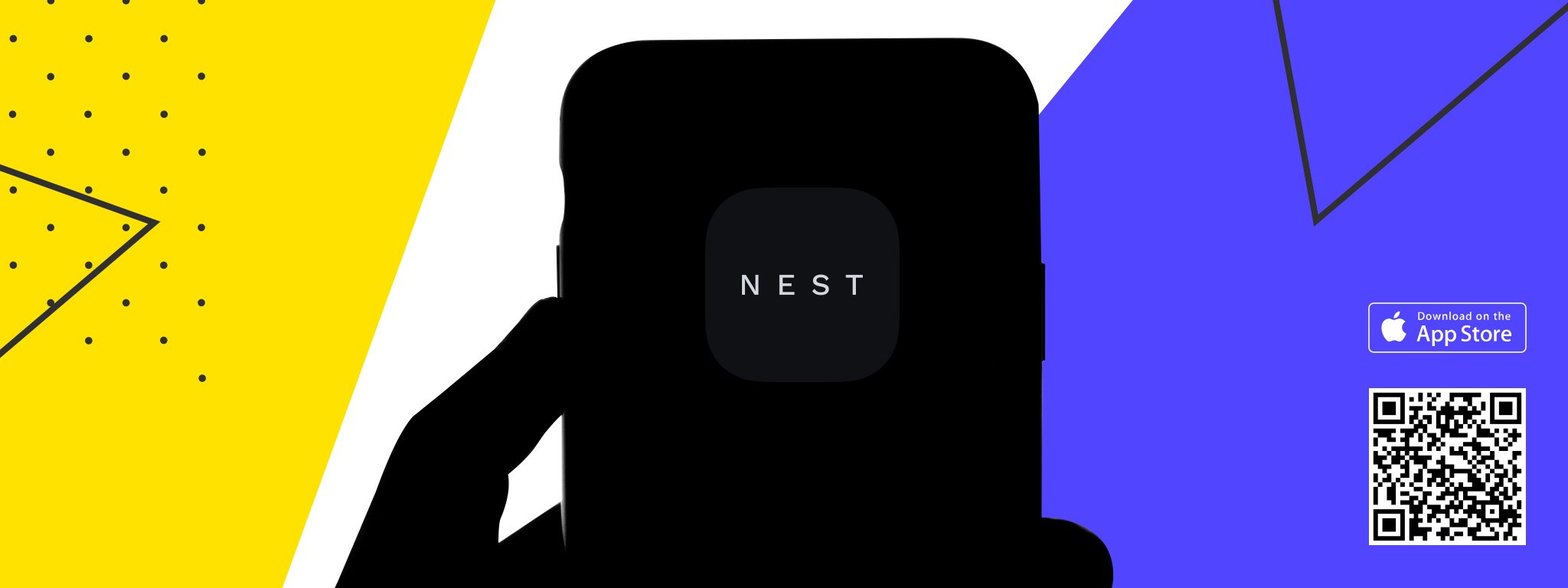 Hand holding a phone with Nest app on it